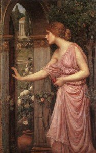 Waterhouse, Psyche che apre la porta nel giardino di Cupido