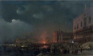 Ippolito Caffi, Festa notturna in onore degli arciduchi Massimiliano e Carlotta (1857)
