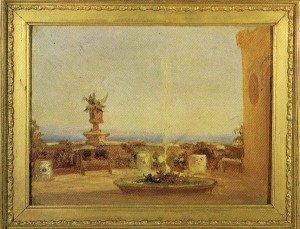 Dipinto autografo di Carlotta, con una veduta dalla terrazza del Castello