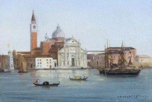 Dipinto autografo di Carlotta raffigurante l'Isola di San Giorgio a Venezia 1859