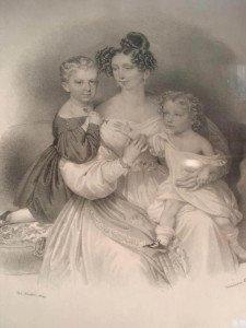 Sofia di Wittelsbach con i figli Francesco Giuseppe e Massimiliano