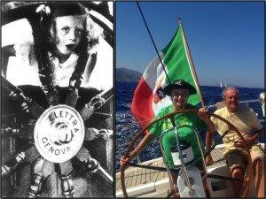 A sinistra: Elettra Marconi a bordo della nave Elettra, 1936 A destra: Elettra Marconi e Gianfranco Oradini, 2015. Alle spalle l'isola di Idra; di fronte il Peloponneso